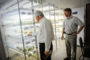 Chancellor Randy Woodson tours the Mountain Horticultural Crops Research and Extension Center