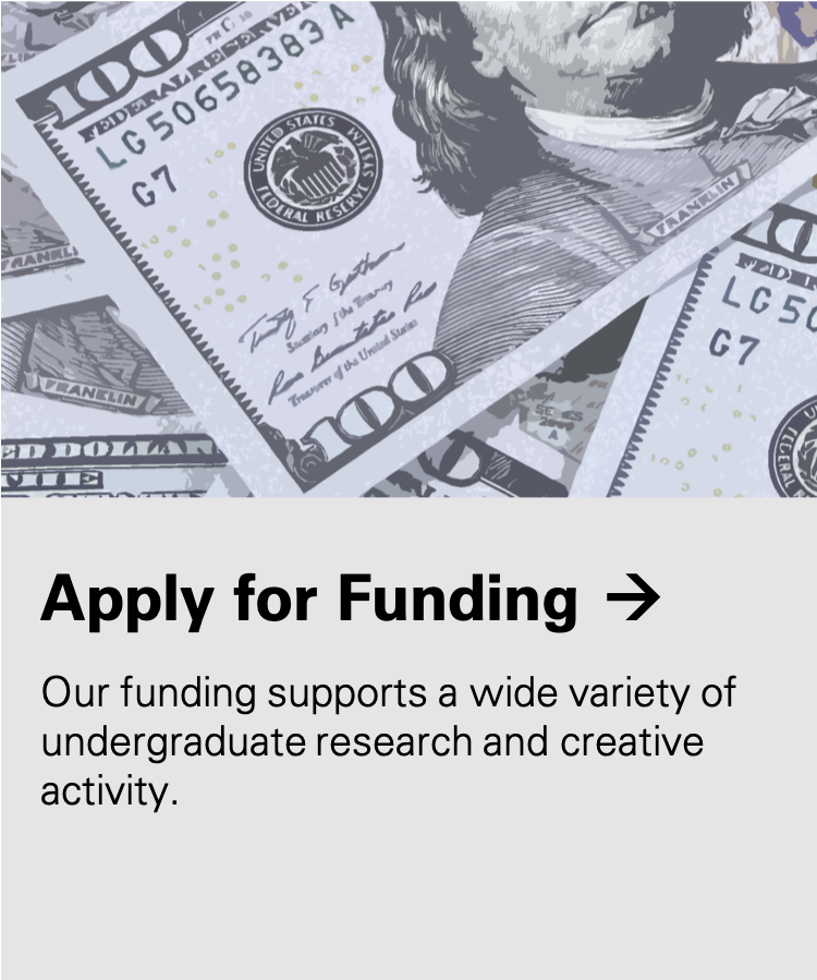 Apply for Funding: Our funding supports a wide variety of undergraduate research and creative activity.