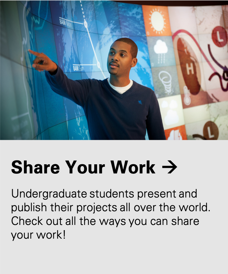 Share Your Work: Undergraduate students present and publish their projects all over the world. Check out all the ways you can share your work!